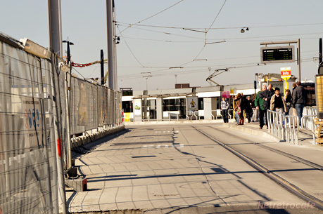 Gent-Sint-Pietersの臨時トラム乗り場