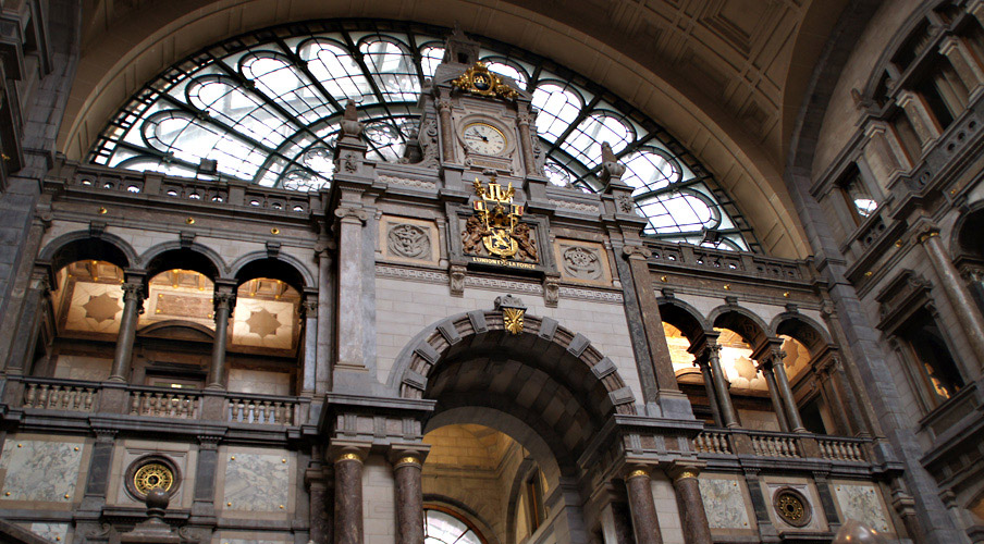 The grand entrance of Antwerp station