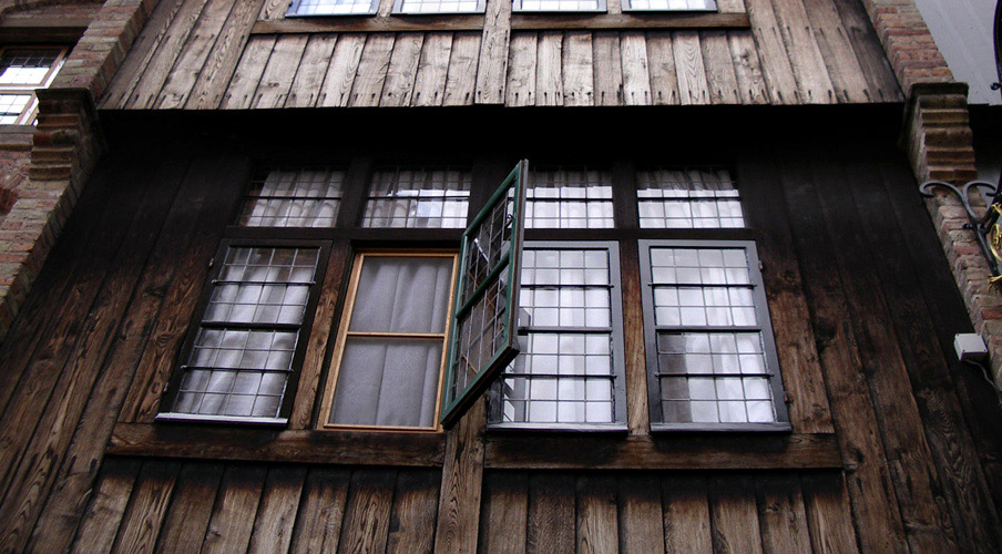 The windows of a old hotel at Bruges